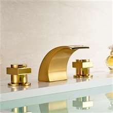 Vienna Double Handle Gold Finish Bathtub Faucet