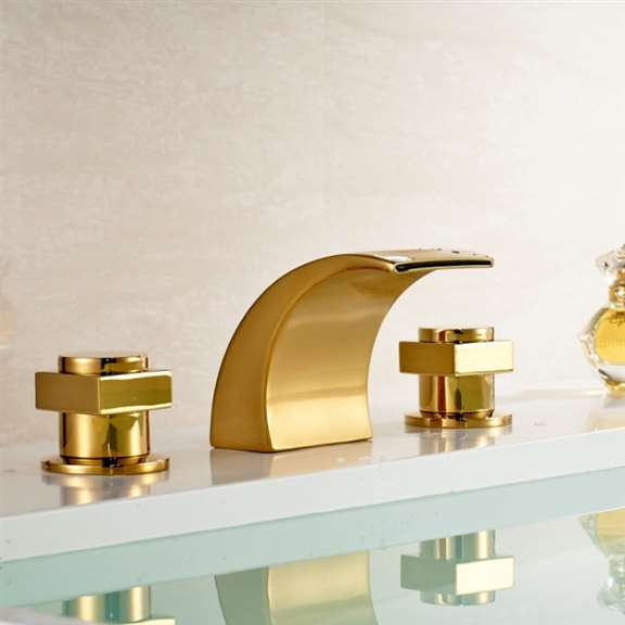 Fontana Double Handled Gold Plated Bathtub Faucet