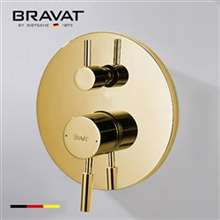 Bravat Gold Shower Valve Mixer 2-Way Concealed Wall Mounted