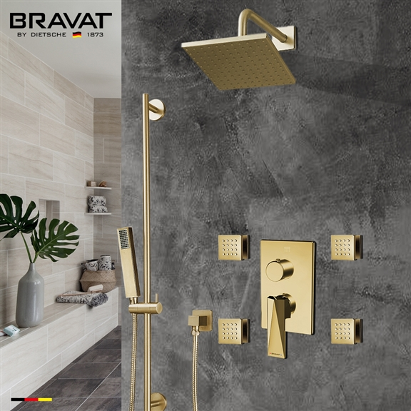 Bravat Square Shower Set With Valve Mixer 3-Way Concealed Wall Mounted In Brushed Gold