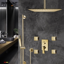 Bravat Square Shower Set With Valve Mixer 3-Way Concealed Ceiling Mounted In Brushed Gold