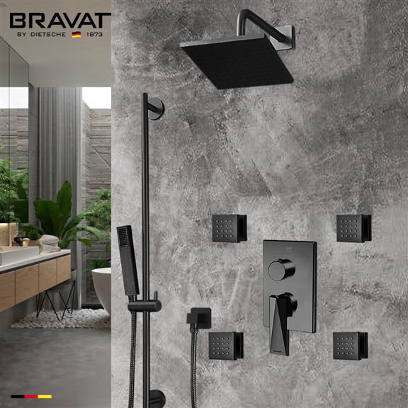Bravat Square Shower Set With Valve Mixer 3-Way Concealed Wall Mounted In Dark Oil Rubbed Bronze
