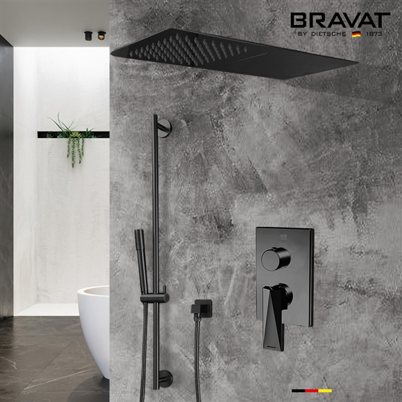 Dark Oil Rubbed Bronze Waterfall & Rainfall Shower Set With Handheld Shower