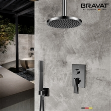 Bravat Shower Set With Valve Mixer 2-Way Concealed Ceiling Mounted In Dark Oil Rubbed Bronze