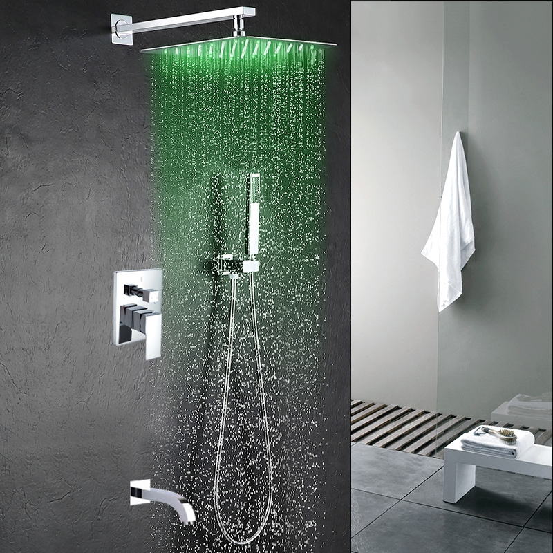 Delicieux Fontana Perlude Stainless Steel Chrome Finish Shower Set   With Optional  LED Lighting