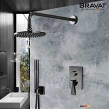 Bravat Dark Oil Rubbed Bronze Wall Mounted Shower Set With Valve Mixer 3-Way Concealed