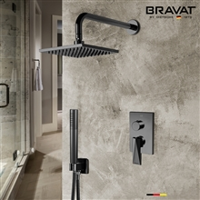 Bravat Dark Oil Rubbed Bronze Wall Mounted Square Shower Set With Valve Mixer 3-Way Concealed