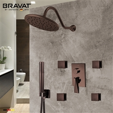 Bravat Shower Set With Valve Mixer 3-Way Concealed Wall Mounted In Light Oil Rubbed Bronze