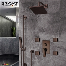 Bravat Square Shower Set With Valve Mixer 3-Way Concealed Wall Mounted In Light Oil Rubbed Bronze