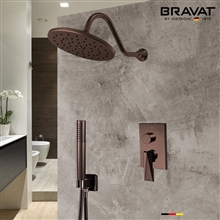Bravat Shower Set With Valve Mixer 2-Way Concealed Wall Mounted In Light Oil Rubbed Bronze