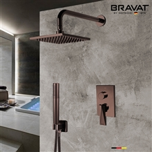 Bravat Light Oil Rubbed Bronze Wall Mounted Square Shower Set With Valve Mixer 3-Way Concealed