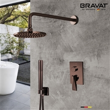 Bravat Light Oil Rubbed Bronze Wall Mounted Shower Set With Valve Mixer 3-Way Concealed