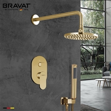 Bravat Brushed Gold Wall Mounted Shower Set With Valve Mixer 3-Way Concealed