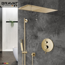 Brushed Gold Waterfall & Rainfall Shower Set With Handheld Shower