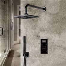 Fontana Dark Oil Rubbed Bronze Square Automatic Thermostatic Shower With Black Digital Touch Screen Shower Mixer Display 2 Function Rainfall Shower Set With Handheld Shower