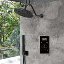 Fontana Dark Oil Rubbed Bronze Round Automatic Thermostatic Shower With Black Digital Touch Screen Shower Mixer Display 2 Function Rainfall Shower Set With Handheld Shower