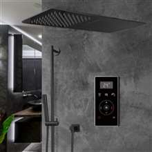 Fontana Thermostatic Dark Oil Rubbed Bronze Waterfall & Rainfall Shower Set With Black Digital Touch Screen Shower Mixer Display 3 Function Rainfall Shower Set With Handheld Shower
