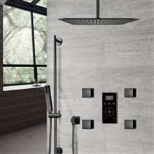 Fontana Dark Oil Rubbed Bronze Automatic Thermostatic Shower With Black Digital Touch Screen Shower Mixer Display 3 Function Rainfall Shower Set With Handheld Shower