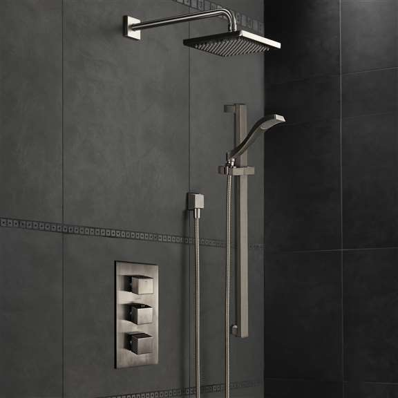 FontanaShowers Atlanta Brushed Nickel Rainfall Shower Set With 3 Way Mixer