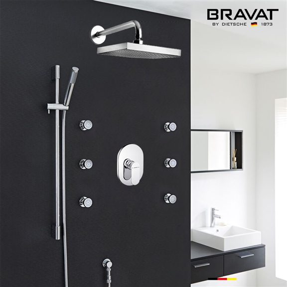 Bravat Chrome Wall Mounted Square Shower Set With Valve Mixer 3-Way Concealed And Six Body Jets