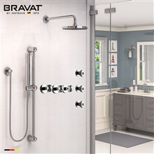 Bravat Chrome Wall Mounted Round Shower Set Valve Mixer 3-Way Concealed