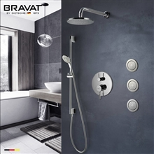 Bravat Chrome Wall Mounted Round Shower Set With Valve Mixer 3-Way Concealed And Three Body Jets