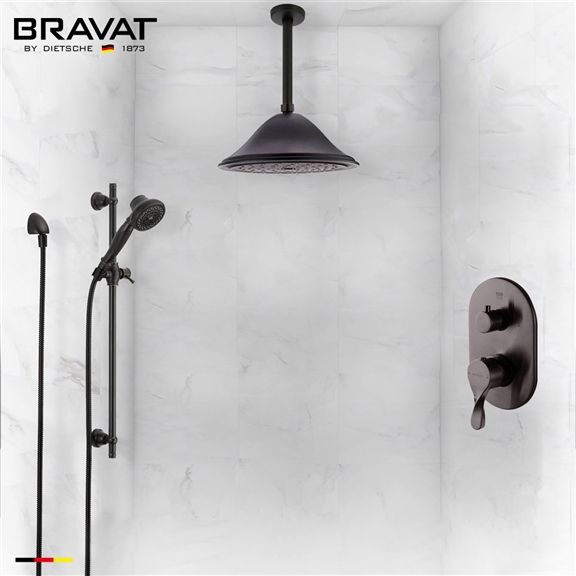 Bravat Ceiling Mounted Round Shower Set With Valve Mixer 3-Way Concealed In Oil Rubbed Bronze