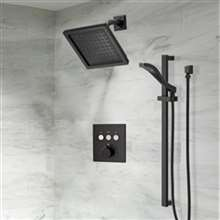 Fontana Wall Mount Square Shower Head With Touch Button Thermostatic 3-Way Concealed Brass Mixer  Shower Set