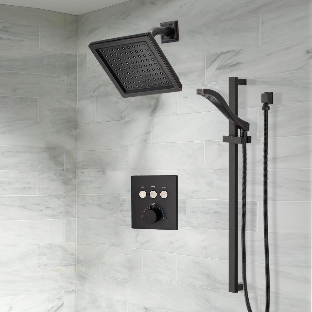 Bathroom Concealed Thermostatic Square Shower Mixer Valve Set Brass Chromed