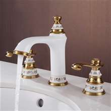 Gironde Dual Handle White & Gold Bathroom Sink Faucet