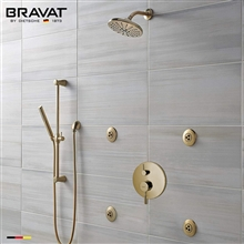 Bravat Brushed Gold Wall Mounted Round Shower Set With Valve Mixer 3-Way Concealed And Four Round Body Jets With Handheld Shower