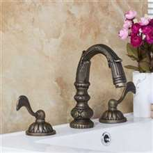 Veneto Brass Deck Mounted Antique Bronze Bathroom Faucet