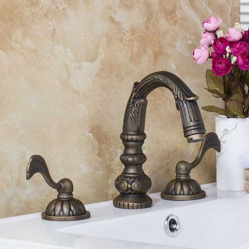 Veneto Brass Deck Mounted Antique Bronze Bathroom Faucet - Antique bronze bathroom fixtures