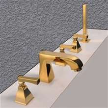Reggio Deck Mounted Gold Triple Handle Bathroom Faucet With Handshower