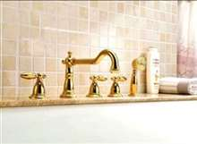 Mirandola Brass Deck Mounted Gold Triple Handle Bathroom Faucet