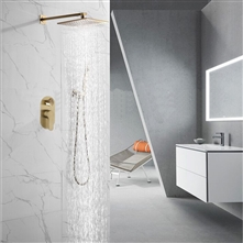 Fontana Dax Brushed Gold Wall Mount Rainfall Shower Set