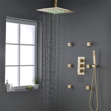 Fontana Verona Brushed Gold Bathroom Thermostatic Shower System Set