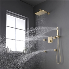 Fontana Creteil Brushed Gold Bathroom Thermostatic Button Shower System Set with Slide Bar