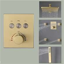 FontanaShowers Brushed Gold Bathroom Thermostatic Button Shower System Set