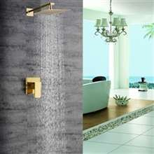 Lucca Golden Brass Finish Bathroom Rain Shower Head Valve Mixer Set