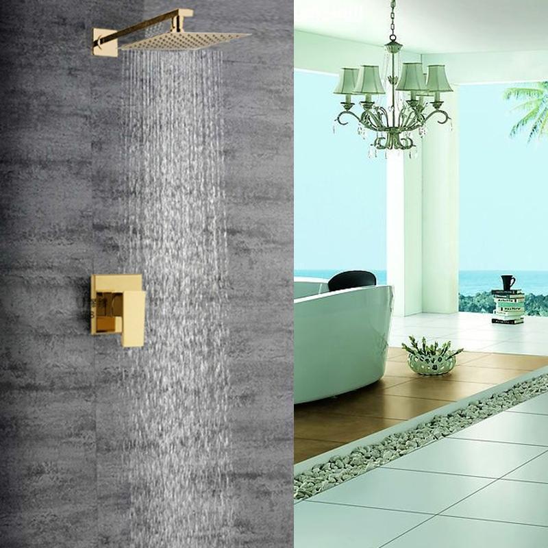 Lucca Golden Brass Finish Bathroom Rain Shower Head Valve Mixer