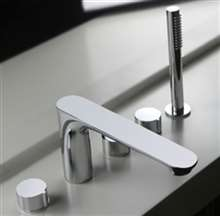Piazza Deck Mounted Chrome Bathroom Faucet with Hand Shower