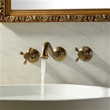 Casoria Antique Brass Dual Handled Sink Faucet