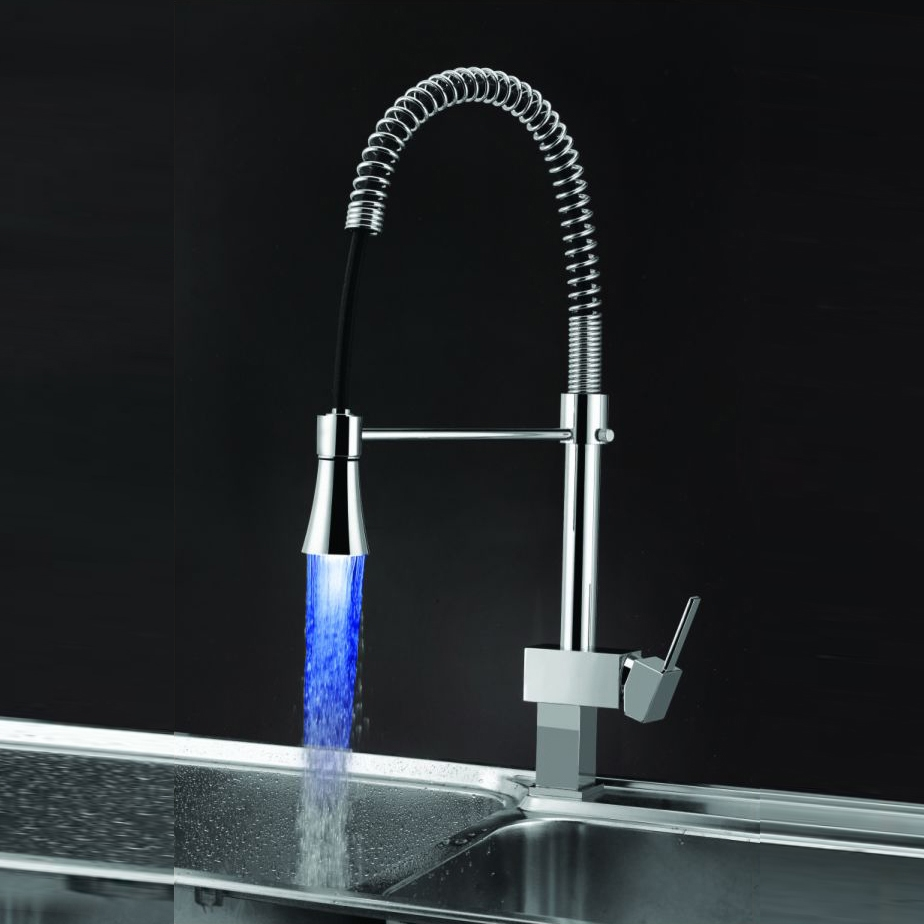 Brescia Changing LED Chrome Brass Kitchen Faucet