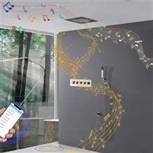 Luxury LED Rainfall Thermostatic Music Shower System  24 inch