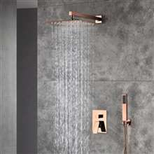 Carpi Rose Gold Square Wall Mounted Rainfall Shower Head Combo Set