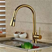 Manaus Deck Mount Gold Finish Kitchen Sink Faucet