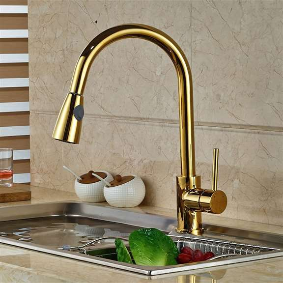 Manaus Deck Mounted Gold Finish Kitchen Sink Faucet