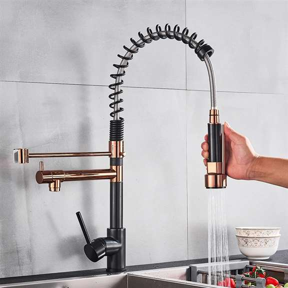 Black And Rose Gold Pull Down Dual Swivel Spout Kitchen Faucet