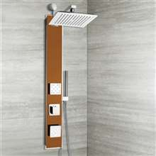 Torento Oil Rubbed Bronze Tempered Glass Rainfall Shower Panel with Hand Shower